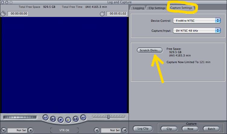 Scratch Disks found under Final Cut Pro's Capture Settings