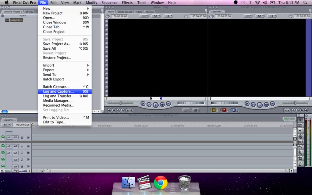 Final Cut Pro File menu select Log and Capture