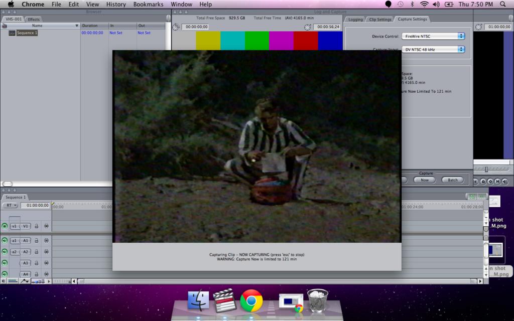 Final cut Pro now capturing VHS