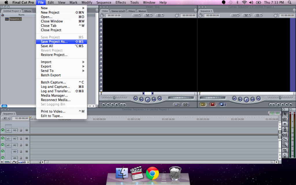 Final cut Pro file save project as