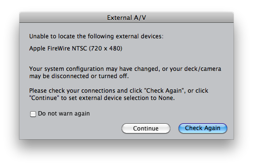 Final cut Pro unable to located the following external devices Apple FIreWire NTSC