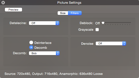 Handbrake dialog with the Decomb Bob option selected