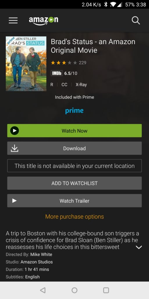 "Screenshot of Amazon Prime Video app with a geographic restriction stating ""This title is not available in your current location."" Private Internet Access VPN gets around this restriction."