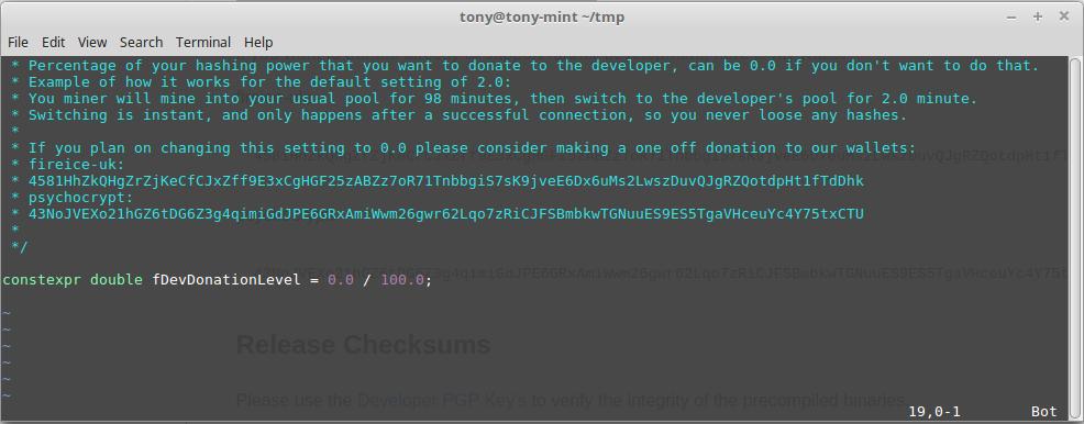 Screenshot of xmr-stak's donate-level.hpp