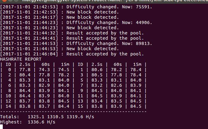 Console output of xmr-stak GPU mining Monero