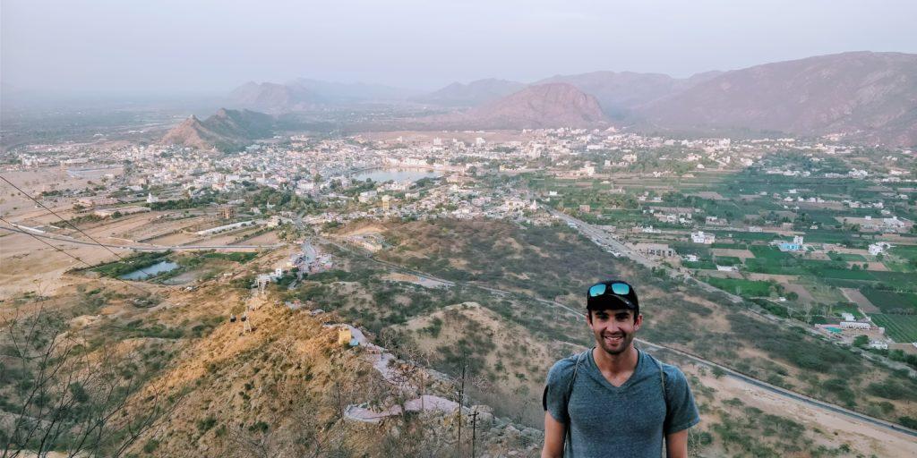 View of Pushkar, India from 720 meters high at the Savitri Mata Temple