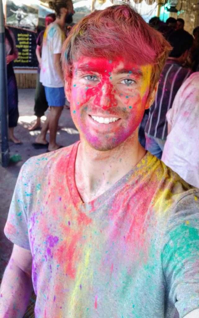 Holi festival in Rishikesh selfie