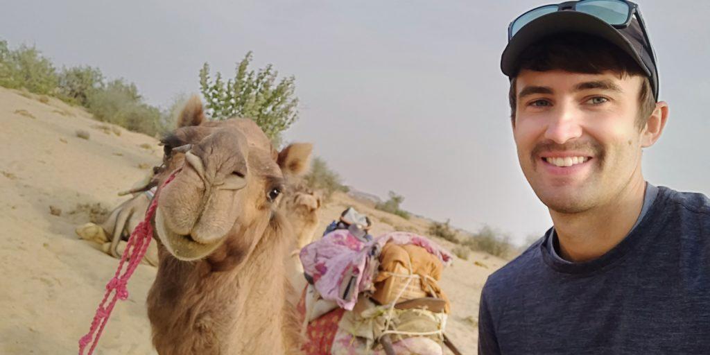 I rode a camel named Mango on my overnight camel safari in the Thar desert of Jaisalmer