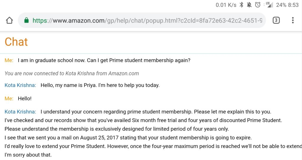 Conversation with an Amazon customer service representative about getting Amazon Prime Student twice
