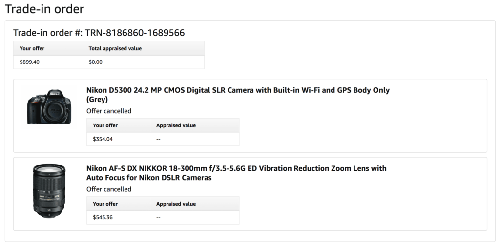 Amazon Trade-in quote for a used camera and zoom lens