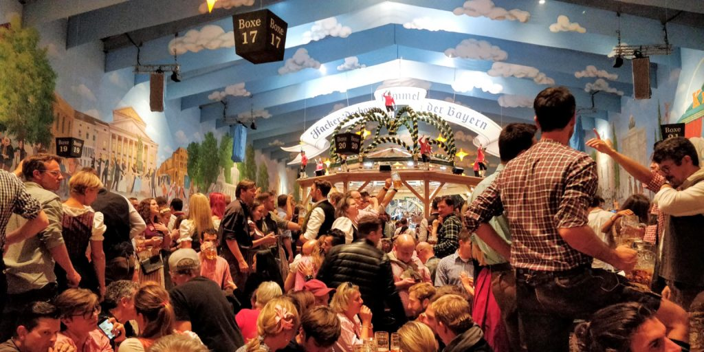 Hacker-Festhalle Oktoberfest tent with clouds