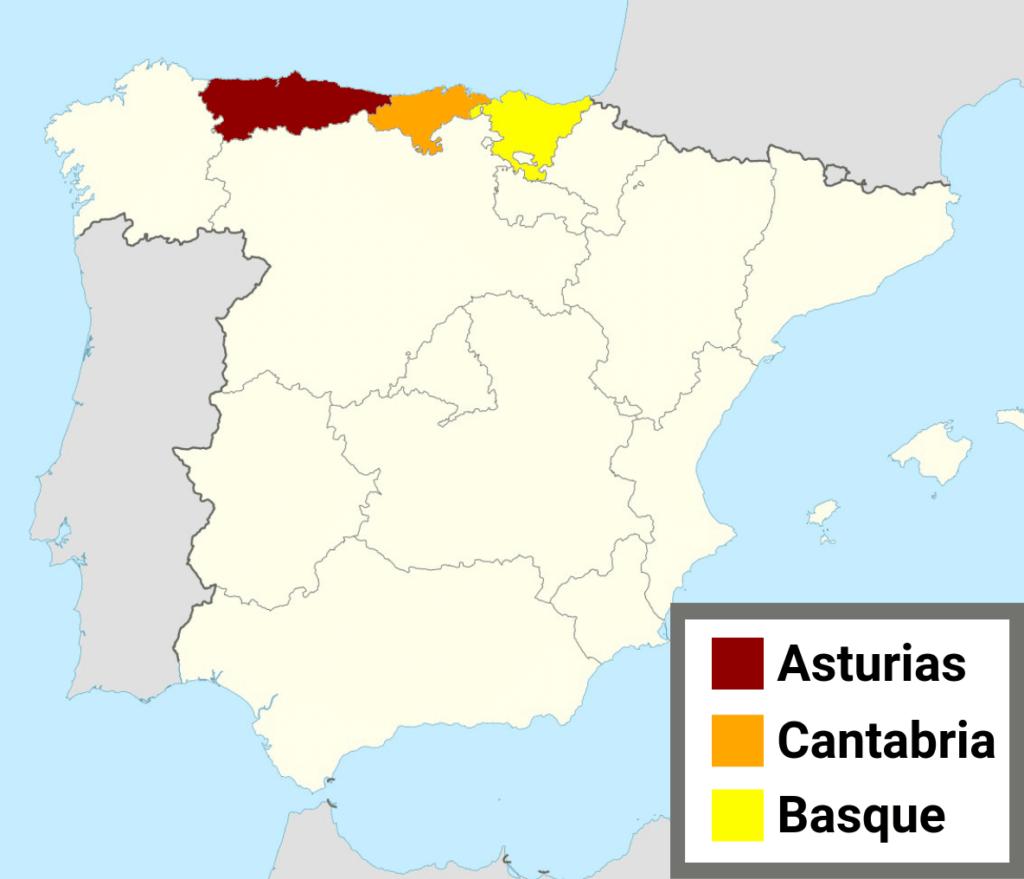 Asturias, Basque, and Cantabria regions of northern Spain