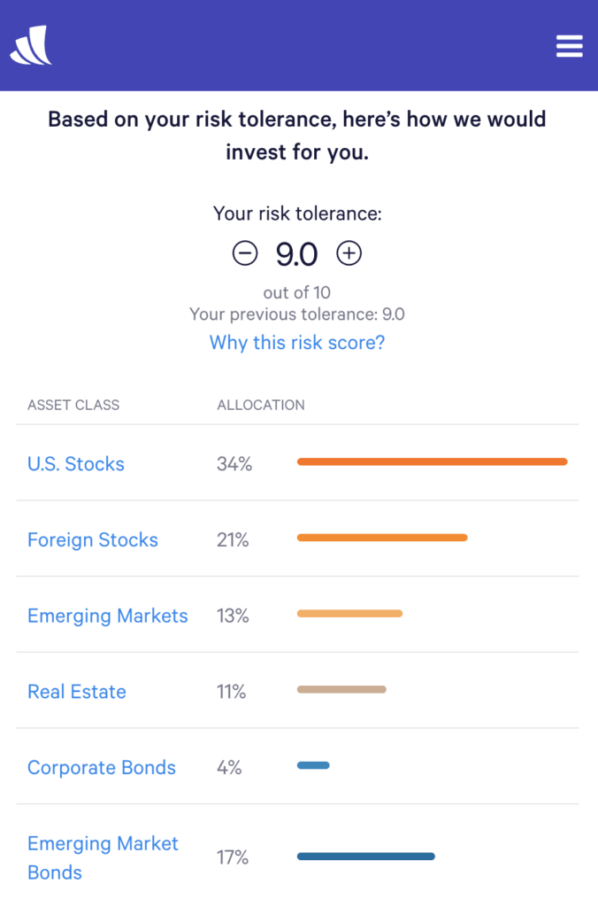 Wealthfront risk tolerance