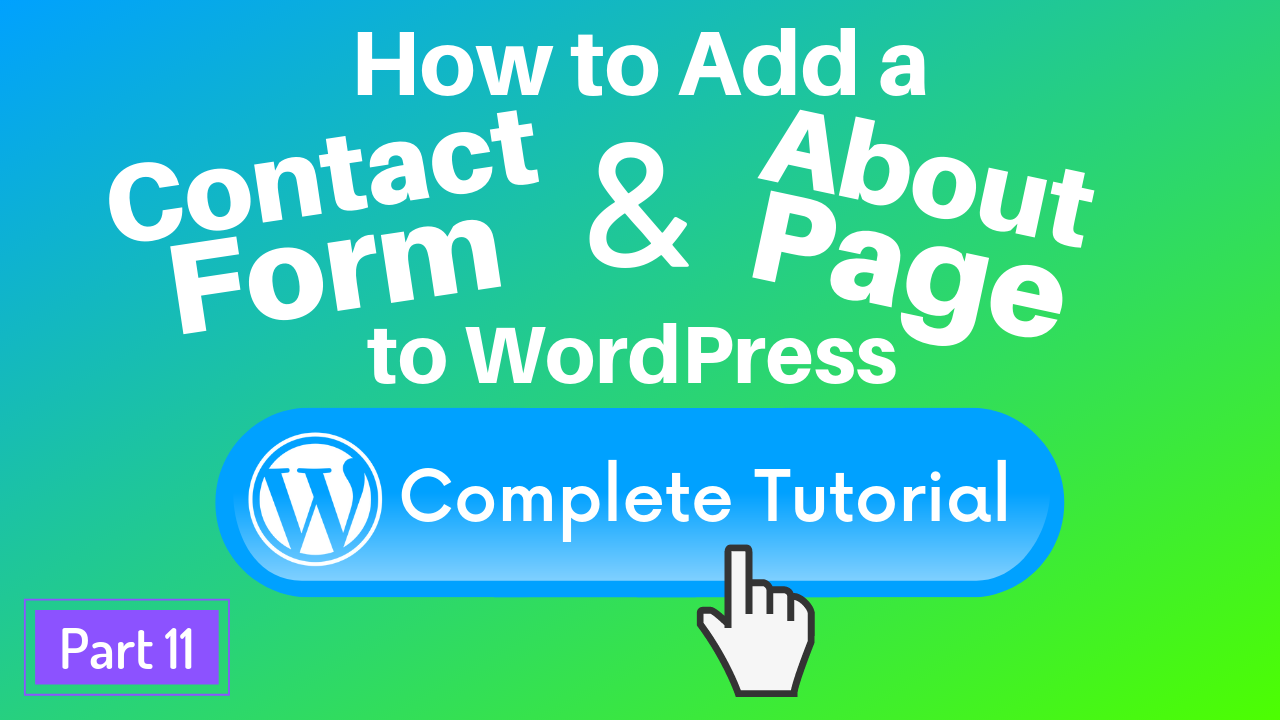 Add contact form and about page to WordPress tutorial