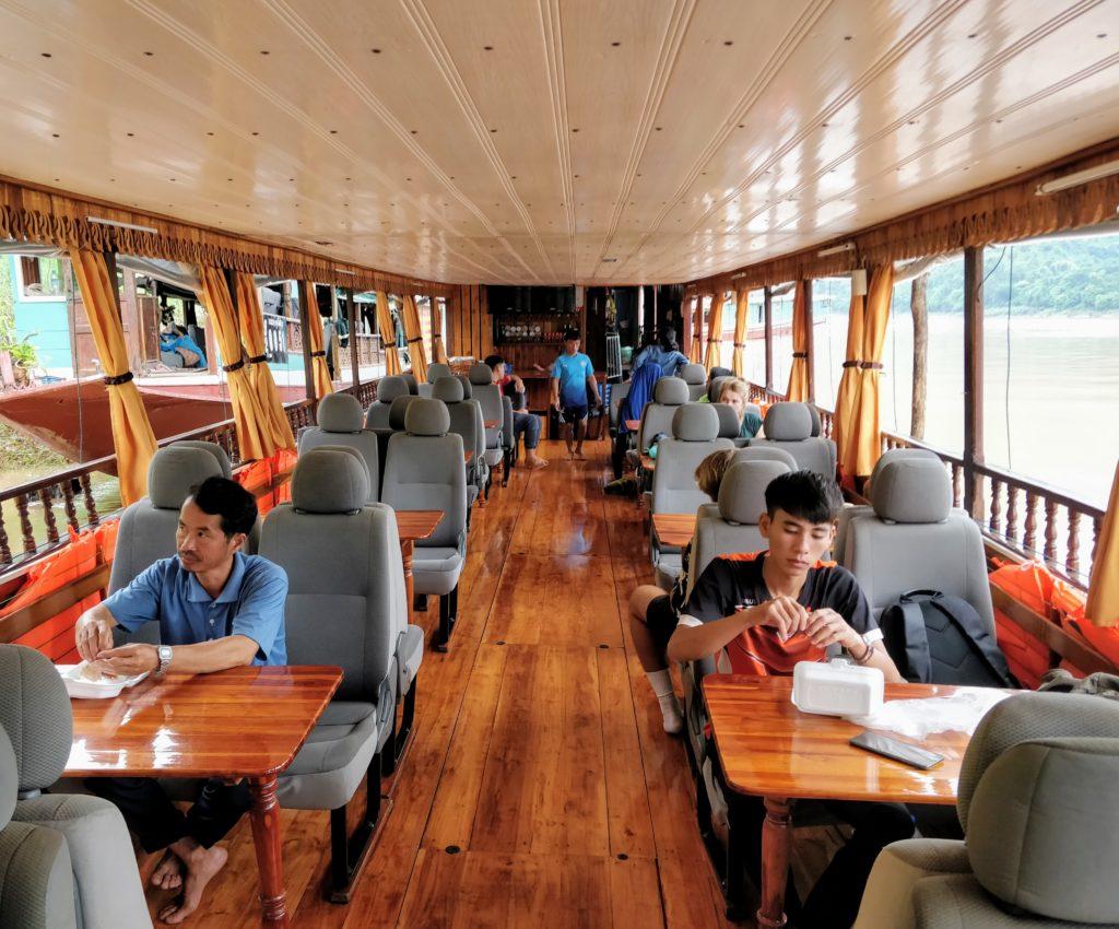 Inside of a slow boat in Laos